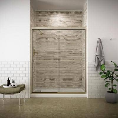 Fluence 59-5/8 in. x 70-5/16 in. Heavy Sliding Shower Door in Anodized Brushed Bronze with Handle