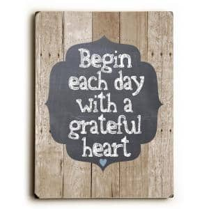 9 in. x 12 in. ''Grateful Heart'' by Ginger Oliphant Solid Wood Wall Art