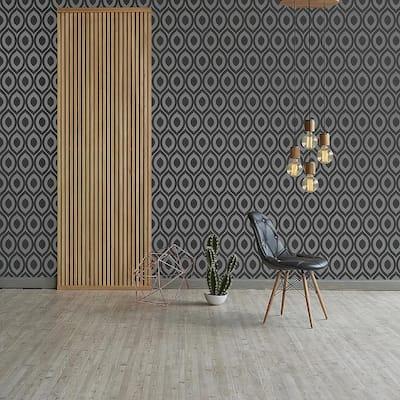 Rimini Black Geometric Peelable Roll (Covers 56.4 sq. ft.)