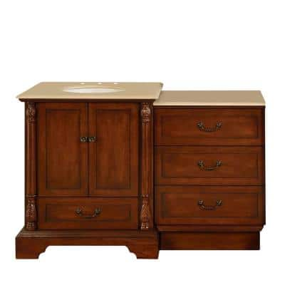 56 in. W x 22 in. D Vanity in Walnut with Marble Vanity Top in Crema Marfil with White Basin