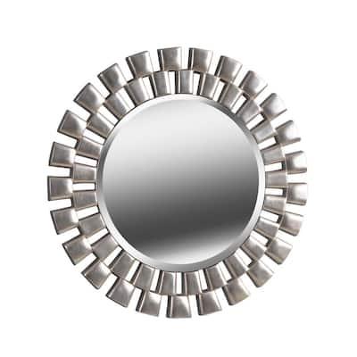 Medium Round Silver Beveled Glass Classic Mirror (36 in. H x 36 in. W)