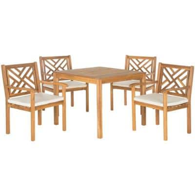 Bradbury Teak Brown 5-Piece Wood Outdoor Dining Set with Beige Cushions