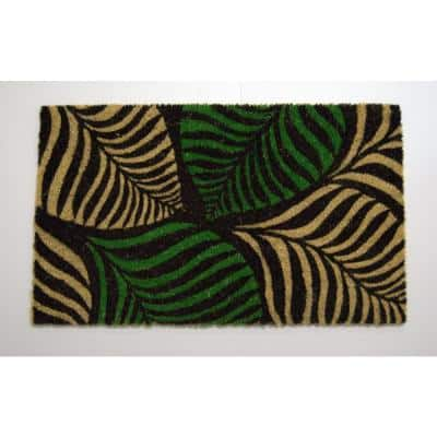 Nature Mats By Geo Multi Colored Palm Leaves PVC Backed Doormat
