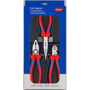 3-Piece Combination Long Nose Pliers with Diagonal-Comfort Grip