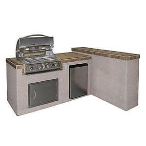 2-Piece BBQ Island and Side Bar with 32 in. Propane Gas BBQ Grill