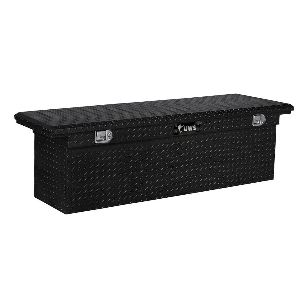 """Gloss Black Aluminum 69"""" Deep Truck Tool Box, Low Profile (Heavy Packaging)"""
