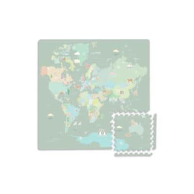 34.2 in. x 68.4 in. Green Around the World Interlocking EVA Foam Floor Tiles (Set of 2)