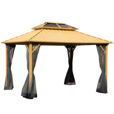10 ft. L x 12 ft. W 2-Tier Roof Steel Hardtop Aluminum Permanent Gazebo Canopy with a Mesh Patio, Wood Grain