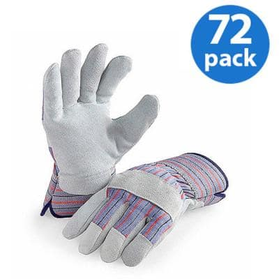 Genuine Suede Leather Palm Work Glove (72 Pair Value Pack)
