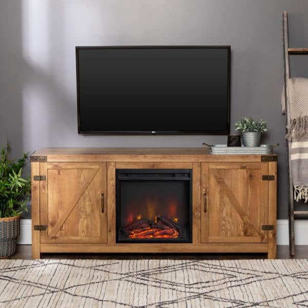 HumbleNest Farmers Market 58 in. Weathered Barn Fireplace TV Stand