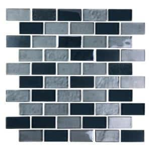 Landscape Gobi Gray Linear Mosaic 1 in. x 2 in. Textured Glossy Glass Pool Tile (0.77 Sq. ft.)