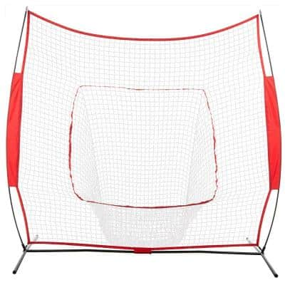 7 ft. x 7 ft. Portable Baseball Net Training with Carry Bag in Red