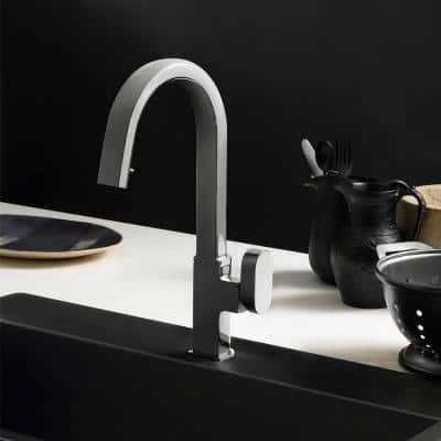 Azura Single-Handle Hidden Pull Down Sprayer Kitchen Faucet with CeraDox Technology in Brushed Nickel