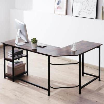 66 in. L Shape Walnut Writing Desk Computer Table with Storage Shelves