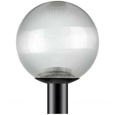 12 in. Globe Post 1-Light Black Prismatic Polycarbonate Outdoor Globe Post Top Lantern