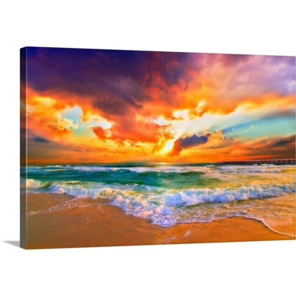 Greatbigcanvas 36 In X 24 In Red Orange Purple Beautiful Beach Sunset By Eszra Tanner Canvas Wall Art 2528572 24 36x24 The Home Depot
