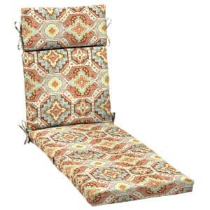 21 in. x 29.5 in. Russet Geo Outdoor Chaise Lounge Cushion
