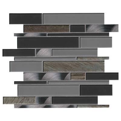 Metallica Interlocking 12 in. x 12 in. x 6 mm Glass Metal Mesh-Mounted Mosaic Tile (15 sq. ft./case)