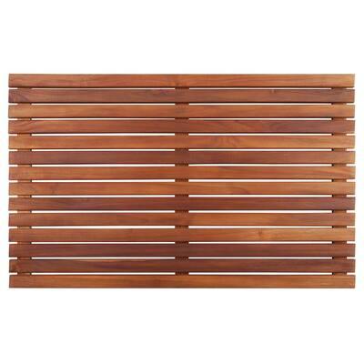 Oiled Brown Teak Indoor and Outdoor Shower/Bath Mat 31.4 in. x 19.6 in.