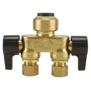1/2 in. Brass Push-To-Connect x 3/8 in. Compression Dual Inline Outlet Dual Shut-Off Quarter-Turn Stop Valve