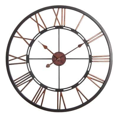 "Utopia Alley Oversized Roman Round Wall Clock, 28"" Diameter, Dark Bronze finish"