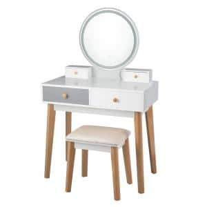 2-Piece White Grey Vanity Table with Color Lighting Modes Makeup Table and Stool Set Jewelry Divider