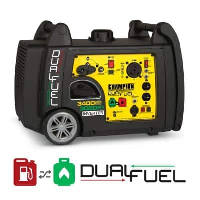 3400-Watt Gas and Propane Dual Fuel Powered Electric Start Portable Inverter Generator with 192 cc Engine
