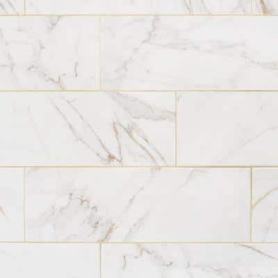 LuxeCraft Calacatta Gold Marble 8 in. x 24 in. Glazed Ceramic Wall Tile (13.3 sq. ft./Case)