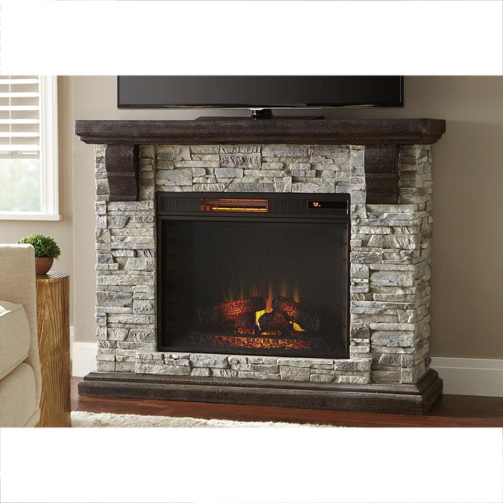 Home Decorators Collection Highland 50 In Freestanding Faux Stone Electric Fireplace Tv Stand In Gray With Mantel 103058 The Home Depot