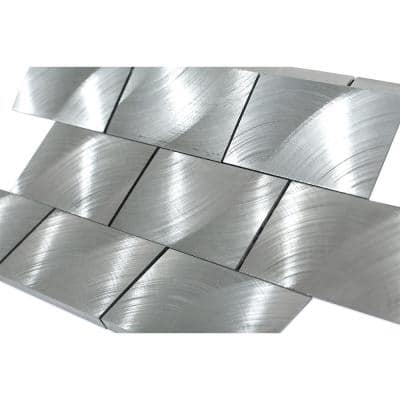 Urban Silver 2 in x 4 in  Aluminum Mosaic Tile
