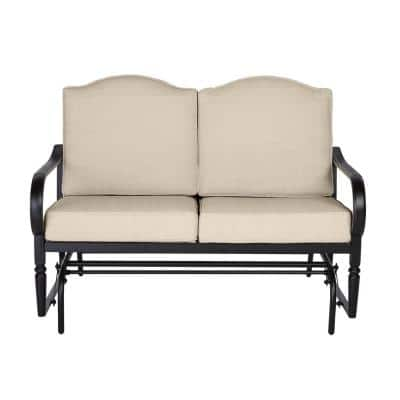 Laurel Oaks Dark Brown Steel Outdoor Patio Glider with CushionGuard Putty Tan Cushions