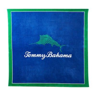 72 in. x 72 in. Wavy Marlin Blue Cotton Beach Towel Blanket
