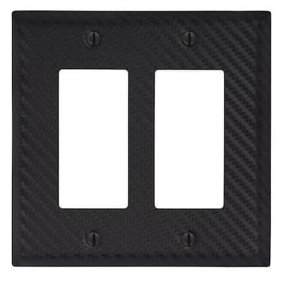 Branston 2 Gang Rocker Steel Wall Plate - Black