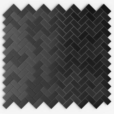 Caltrop Black Stainless 12.09 in. x 11.65 in. x 5mm Metal Self Adhesive Wall Mosaic Tile