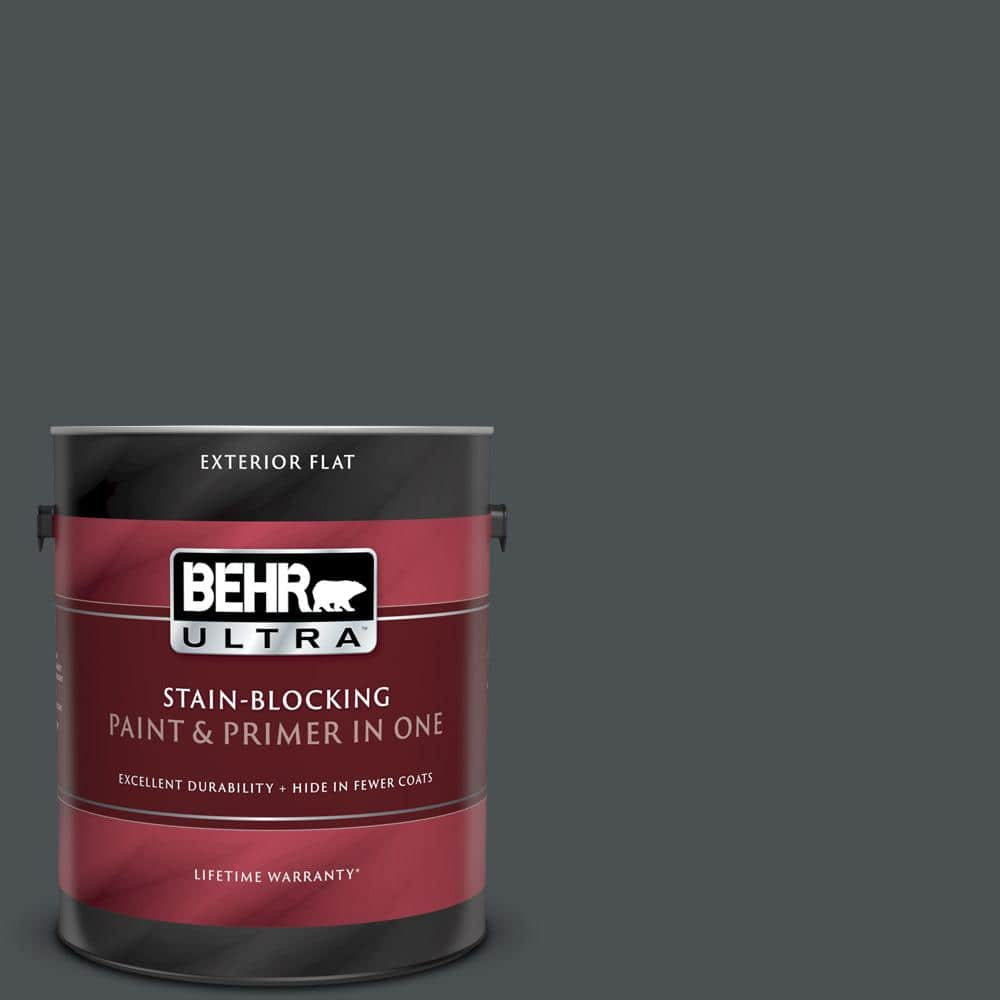 Behr Ultra 1 Gal Ppu26 01 Satin Black Flat Exterior Paint And Primer In One 485301 The Home Depot