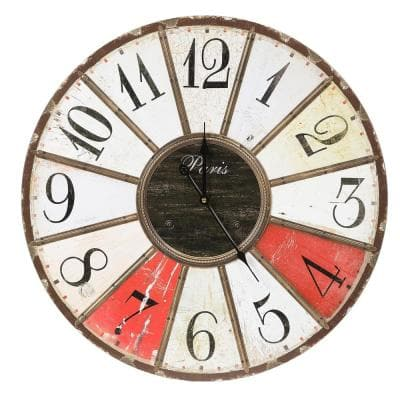 23.6 in. Dia. Iron and MDF Multi-Color Wall Clock