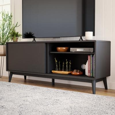 Madison 58 in. Black Mid Century Modern TV Stand Fits TV's up to 60 in. with Doors