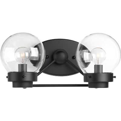 Spatial Collection 2-Light Matte Black Clear Glass Global Bath Vanity Light