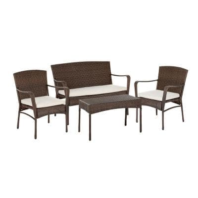 Leisure 4 -Piece Wicker Patio Conversation Set With Beige Cushions