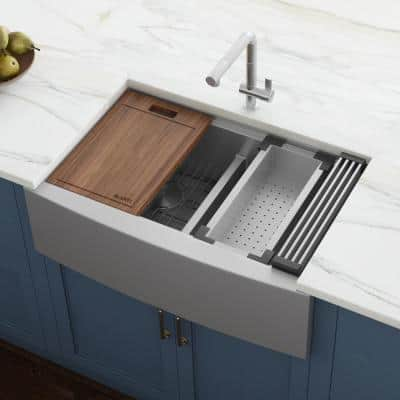 Apron-Front Stainless Steel 33 in. 16-Gauge Workstation Double Bowl 60-40 Farmhouse Kitchen Sink