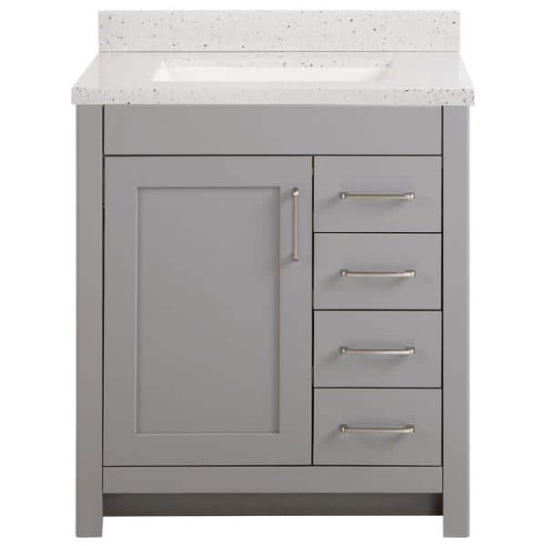 Home Decorators Collection Westcourt 31 In W X 22 In D Bath Vanity In Sterling Gray With Solid Surface Vanity Top In Silver Ash With White Sink Wt30p2v4 St The Home Depot
