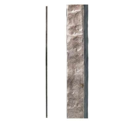 Satin Clear 3.2.1 Square Hammered Plain Solid Iron Baluster for Staircase Remodel