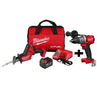 M18 FUEL 18-Volt Lithium-Ion Brushless Cordless HACKZALL Reciprocating Saw Kit W/ M18 FUEL Hammer Drill