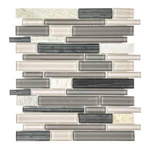 Platinum Pearl Pencil 10.625 in. x 12 in. Interlocking Quartz and Glass Mosaic Tile (0.885 sq. ft./Each)