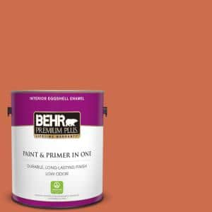 Behr Premium Plus 1 Gal M180 6 Tiki Torch Eggshell Enamel Low Odor Interior Paint And Primer In One 230001 The Home Depot