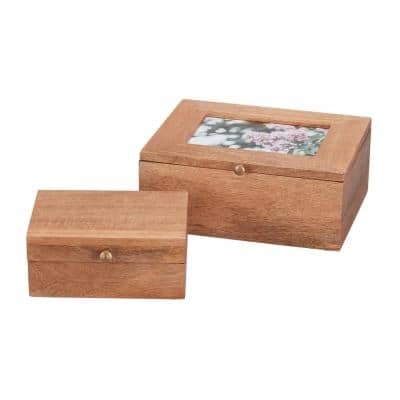 Rectangle Wood Photo Nested Storage Box with Lid (Set of 2)