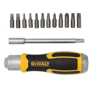 Ratcheting Screwdriver with Removable Bar and 12 Bits