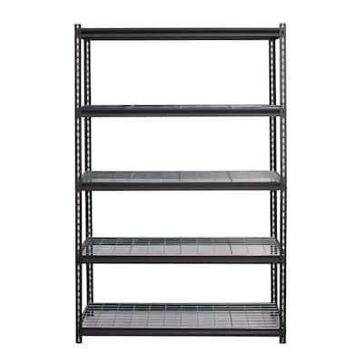 2300 Series Black 5-Tier Boltless Steel Wire Garage Storage Shelving Unit ( 48 in. W x 72 in. H x 18 in. D )