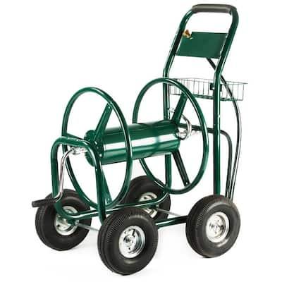 300 ft. Outdoor Yard Portable Water Hose Reel Cart with Steel Basket