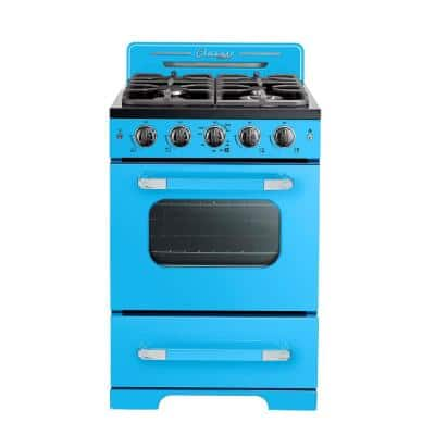 Classic Retro 24 in. 2.9 cu.ft. Gas Range with Convection Oven in Robin Egg Blue